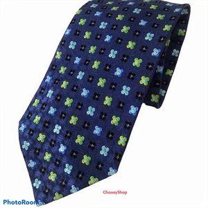 ZEGNA Navy Light Blue Green Floral Silk Tie